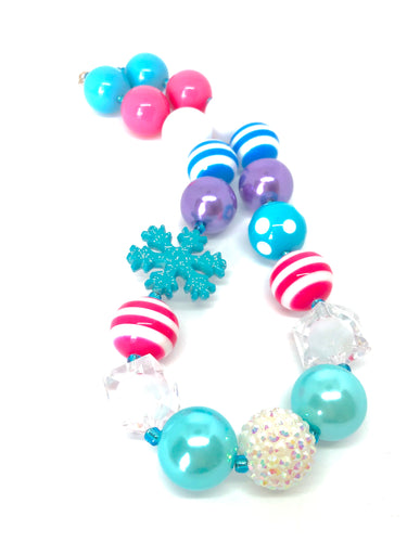 Blue Snowflake Bubblegum Bead Necklace