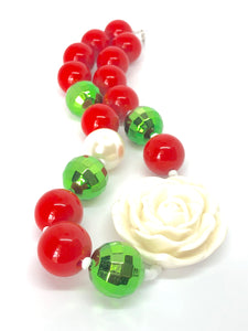 Christmas Necklace for Girls. Bubblegum Bead Necklace. Big White Rose with Green Disco Ball Beads.