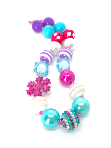 Pink Purple & Teal Glittery Snowflake Frozen Bubblegum Bead Necklace
