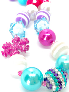 Pink Purple & Teal Glittery Snowflake Bubblegum Bead Necklace