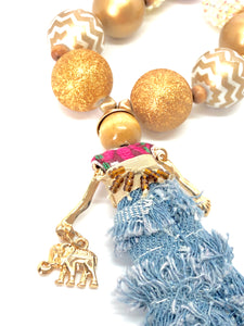 Boho Chic with an Elephant Purse - Dolly Bubblegum Bead Little Girl Necklace
