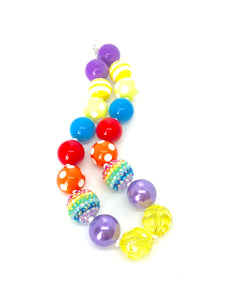 Yellow Blingin Rainbow Fun Girls Colorful Bubblegum Necklace