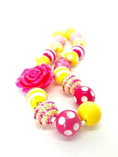 Hot Pink Rose + Blingin' Lemonade Little Girls Colorful Bubblegum Bead Necklace