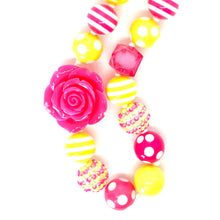 Load image into Gallery viewer, Hot Pink Rose + Blingin' Lemonade Little Girls Colorful Bubblegum Bead Necklace