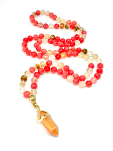 Red Healing Necklace. 108 Bead Mala Necklace. Cherry Quartz. Rhodonite. Yoga Meditation Jewelry. Positive Vibes. Stone of Compassion.