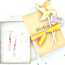 Load image into Gallery viewer, Gold Rectangle Earrings, Geometric Earrings, Colorful Jewelry