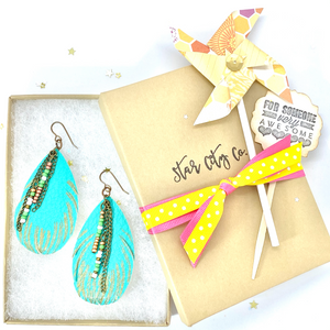 Leather Earrings, Feather Earrings, Turquoise Teardrop Earrings