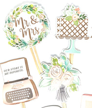 Load image into Gallery viewer, Bridal Shower Cupcake Toppers. Wedding Cupcake Decor. Mr. & Mrs. Wedding Celebration Decor. Wedding Sticker Set. To have and to Hold.
