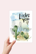 Load image into Gallery viewer, I Love You Cactus Card, Succulents Anniversary Card, Watercolor Cactus Card, Valentines Day Card for Him, Printable Valentines Card