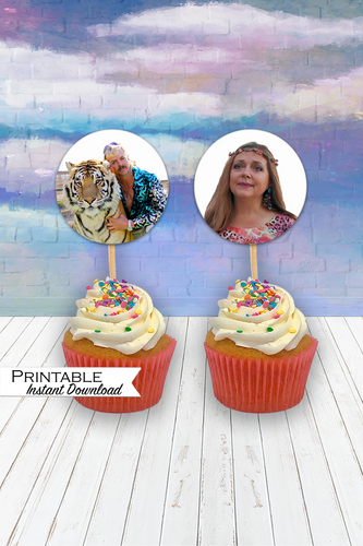 Joe Exotic, White Trash Bash, Printable Stickers, Tiger King Printable, Joe Exotic Cupcake Toppers, Carole Baskin, Netflix Stickers