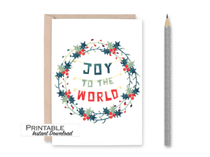 Joy to the World, Printable Card, Scandinavian Christmas