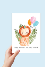Load image into Gallery viewer, Lion Birthday Card, Happy Birthday Printable, Party Animal, Safari Theme Jungle Party, Lion Watercolor, Kids Birthday Card with Balloons