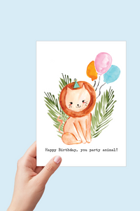 Lion Birthday Card, Happy Birthday Printable, Party Animal, Safari Theme Jungle Party, Lion Watercolor, Kids Birthday Card with Balloons