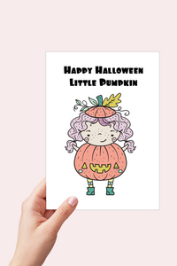 Little Pumpkin Card, Halloween Card Printable, Boo Bag, Pumpkin