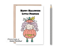 Load image into Gallery viewer, Little Pumpkin Card, Halloween Card Printable, Boo Bag, Pumpkin