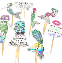 Load image into Gallery viewer, Let's be Mermaids. Mermaid Cupcake Toppers. Mermaid Party. Mermaid Sticker Set. Mermaid Birthday Party Decor. Mermaid Hair Don't Care.