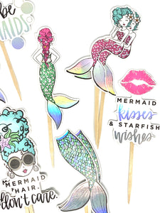 Let's be Mermaids. Mermaid Cupcake Toppers. Mermaid Party. Mermaid Sticker Set. Mermaid Birthday Party Decor. Mermaid Hair Don't Care.
