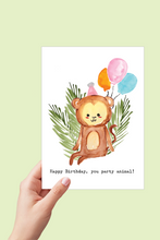 Load image into Gallery viewer, Monkey Birthday Card, Happy Birthday Printable, Party Animal, Safari Theme Jungle Party, Monkey Watercolor, Kids Birthday Balloons