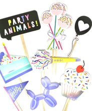 Load image into Gallery viewer, Party Animals Cupcake Toppers. Birthday Cupcake Toppers. Birthday Party Decor. Birthday Sticker Set. Balloons. Balloon Dog. Cherry on Top.
