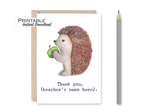 Personalized Card for Teacher, Teacher Appreciation Gift, Porcupine Thank you Teacher Card, Childcare Thank you, Printable Card for Mentor
