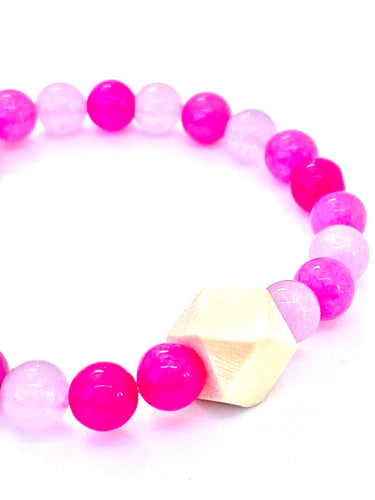 pink Jade essential oil diffuser bracelet with with wooden geometric bead