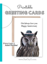 Load image into Gallery viewer, Owl Anniversary Card, Owl Always Love You, Happy Anniversary Card, Heart Glasses, Printable Card Digital Download