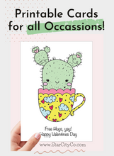 Load image into Gallery viewer, Free Hugs Card, Succulents Valentine Card, Succulent Gift, Punny Valentine Card, Cactus Valentine Card, Instant Download