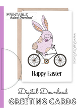 Load image into Gallery viewer, Bike Easter Bunny Card, Happy Easter Basket Card, Pastel Easter Card, Bicycle Rabbit Card Instant Download, Easter Printable Card