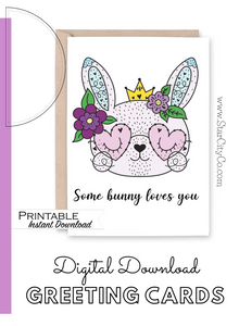 Happy Easter Card, Some Bunny Loves You Easter Card Download, Easter Bunny Card, Easter Printable, Easter Flowers, Heart Glasses