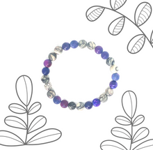 Load image into Gallery viewer, StarCityCo - handmade Purple Agate and Jasper Mala bracelet with overlay