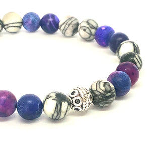 StarCityCo - handmade Purple Agate and Jasper Mala bracelet close up