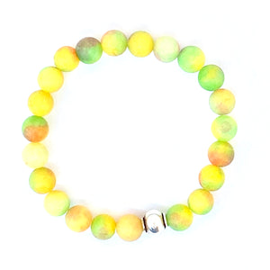 Quartzite Mala Bracelet. Yellow Bracelet. Stretch Healing Bracelet. Meditation Jewelry for Women.
