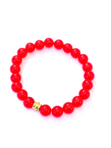 Red Jade Bracelet. Red Mala Bracelet. Stretch Healing Bracelet. Yoga Jewelry for Women.