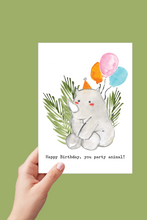Load image into Gallery viewer, Rhino Happy Birthday Card, Happy Birthday you Party Animal, Birthday Card, Printable Card