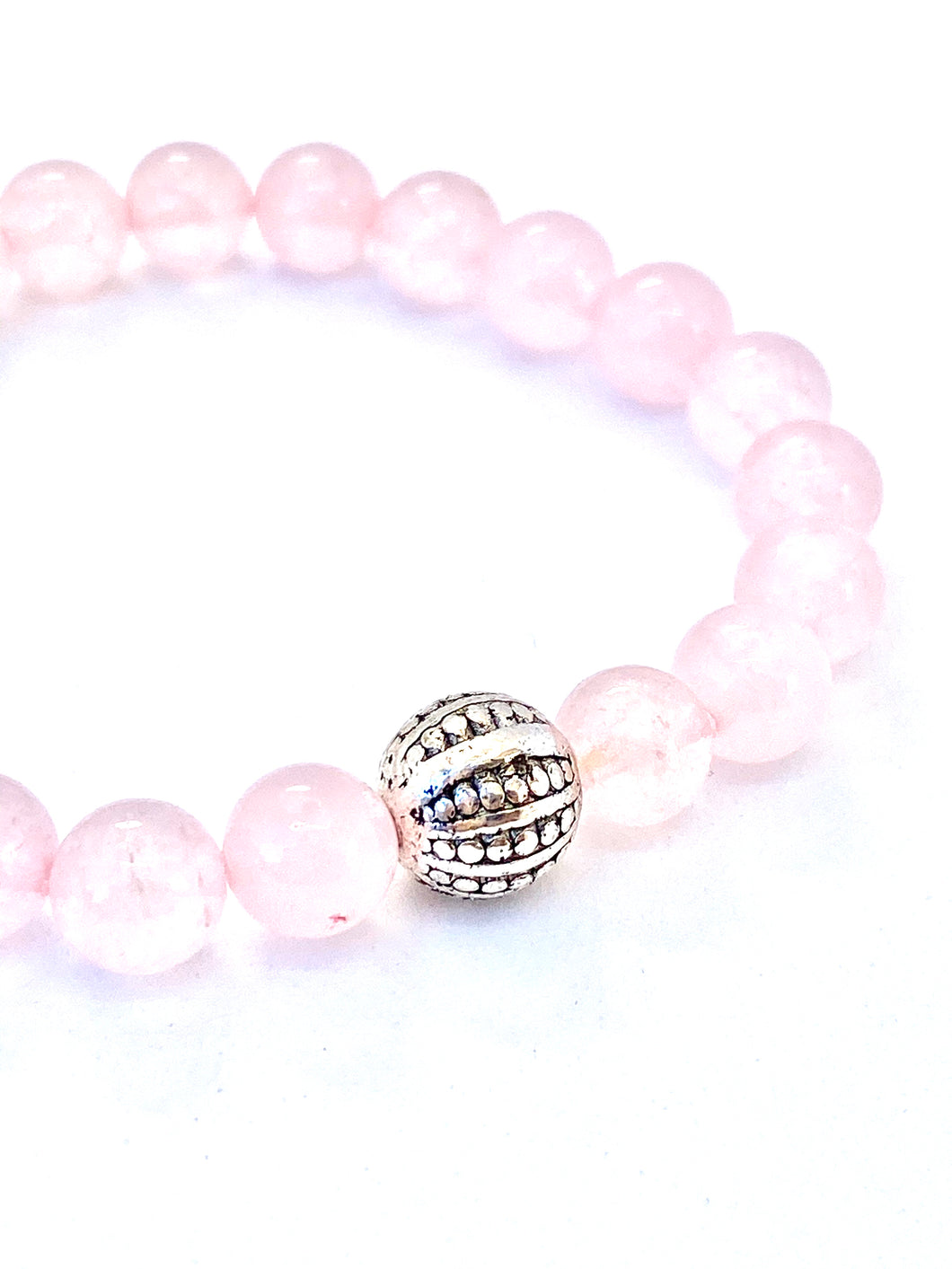 Rose Quartz Mala Bracelet. Love Bracelet. Pink Bracelet. Stretch Healing Bracelet. Yoga Jewelry for Women.