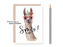 Load image into Gallery viewer, Smile Card, Llama Card, Miss you Card, Printable Card