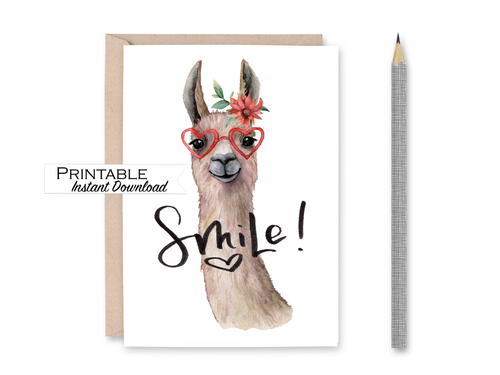 Smile Card, Llama Card, Miss you Card, Printable Card