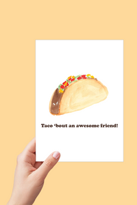 Friend Card, Taco 'bout an Awesome Friend, Thank you Card, Printable Card