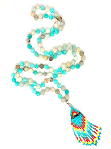 Teal Agate and Amazonite 108 Mala Necklace w/ red, yellow and teal seed bead pendant. Healing Semi-precious Gemstones. Meditation Necklace.
