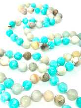 Load image into Gallery viewer, Teal Agate and Amazonite 108 Mala Necklace w/ red, yellow and teal seed bead pendant. Healing Semi-precious Gemstones. Meditation Necklace.