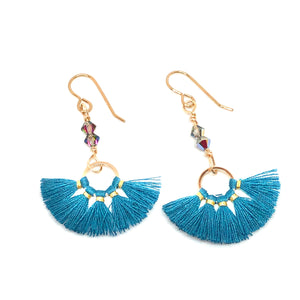 Teal and gold thread fan earrings with Swarovski Crystals