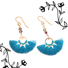 Load image into Gallery viewer, Teal and gold thread fan earrings with Swarovski Crystals 2 with overlay