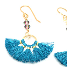 Load image into Gallery viewer, Teal and gold thread fan earrings with Swarovski Crystals close up
