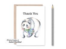 Load image into Gallery viewer, Thank you Card, Panda and Lavender Card, Printable Card