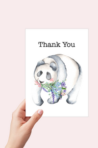 Thank you Card, Panda and Lavender Card, Printable Card