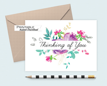 Load image into Gallery viewer, Thinking of you Card, Sympathy Card, Bright Floral Card, Printable Card