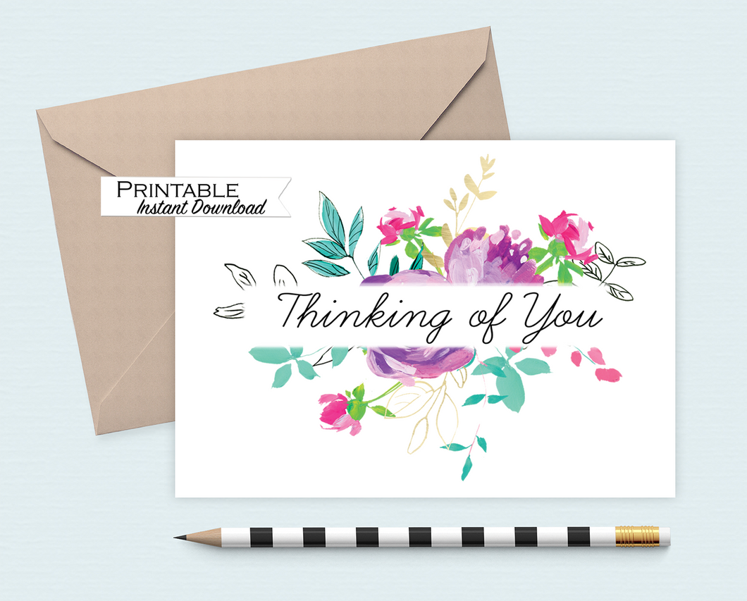 Thinking of you Card, Sympathy Card, Bright Floral Card, Printable Card