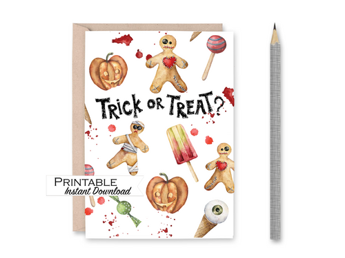 Trick or Treat Card, Halloween Cards, Voodoo Doll, Jack o lantern, Printable Card