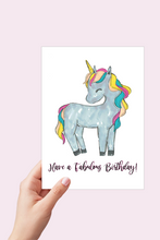 Load image into Gallery viewer, Unicorn Birthday Card, Have a Fabulous Birthday, Girls Birthday Card, Printable Card