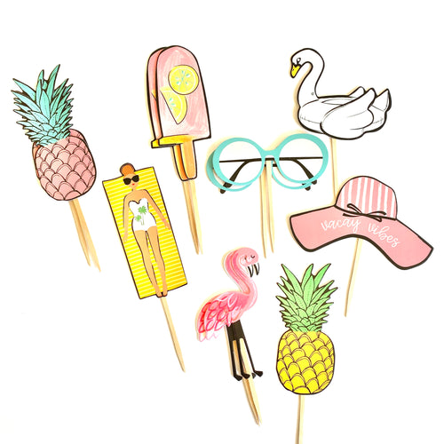 Vacay Vibes Cupcake Toppers. Summer Fun Party Decor. Beach Theme Cupcake Decor. Pool Party. Summertime Party. Summer Sticker Set.